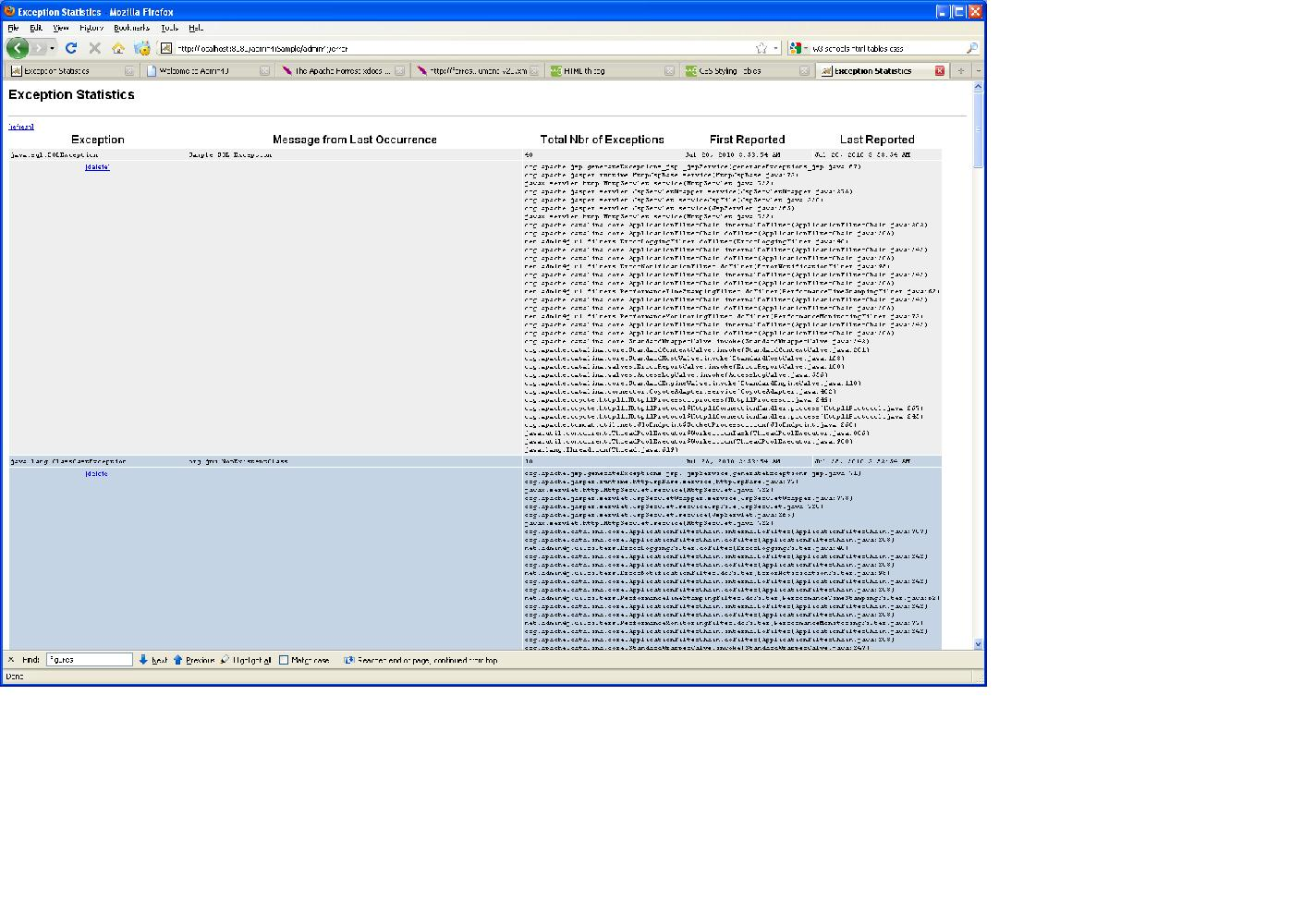 Admin4J Exception Summary Screen shot